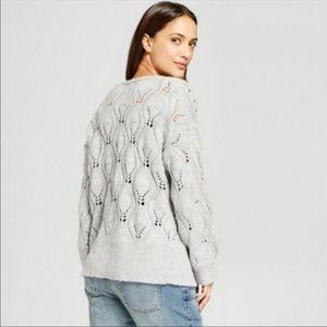 Gray Knit Sweater w/Silver Studs